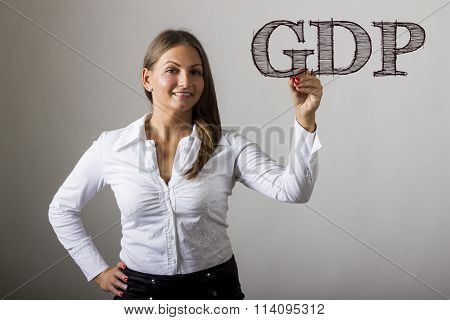 Gdp - Beautiful Girl Writing On Transparent Surface