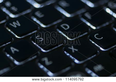 Illuminated Keyboard. Focus On Wasd Keys