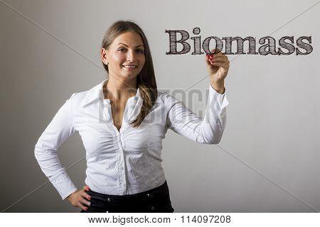 Biomass - Beautiful Girl Writing On Transparent Surface