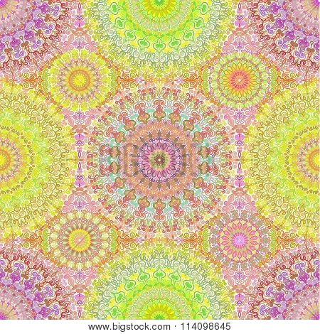 Colorful Hippie Mandala Seamless Pattern