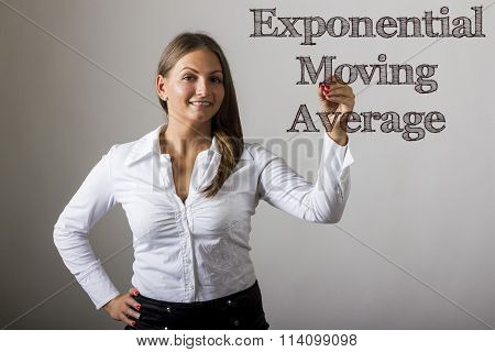 Exponential Moving Average Ema - Beautiful Girl Writing On Transparent Surface
