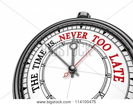 Never Too Late Phrase On Concept Clock