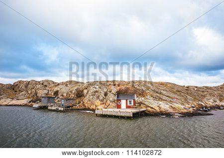 Houses on island in Gothenburg, Sweden