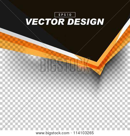 black and orange banner design on gray checkered background. eps10 vector