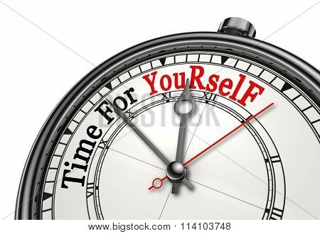 Time For Yourself Red Word On Concept Clock