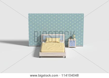 Bedroom Interior In White,blue And Yellow Colors