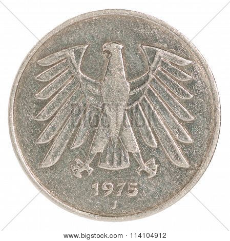 Five Deutsch Mark coin isolated on white background with an eagle poster