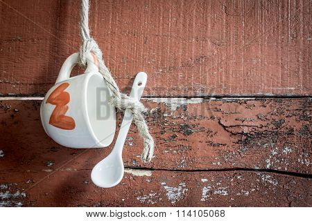 Valentine's Day Background, Of Glass With A Spoon On The Wood Background.