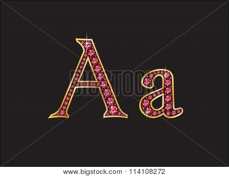 Aa Ruby Jeweled Font With Gold Channels