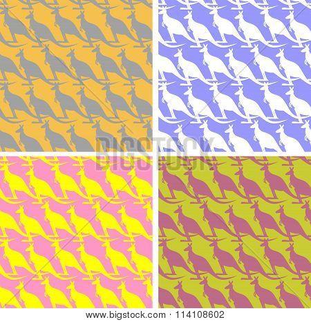Set Kangaroo Seamless Pattern. Color Texture Marsupial Animal. Ornament Wild Animal For Childrens Fa