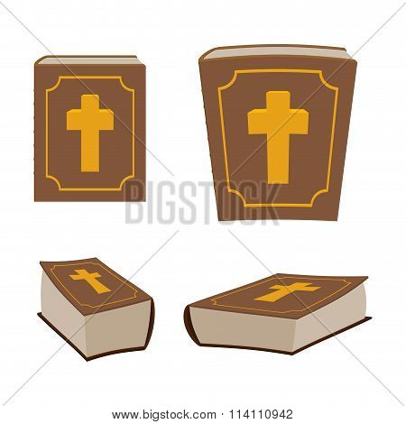 Bible Is Holy Book Set. Different Version Of Holy Book Of Ancient Thick. Closed Book. Christian Bibl