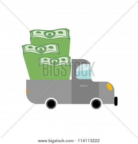 Car And Money. Pile Of Dollars In Trunk Of Your Truck. Machine Carries Stack Of Cash Dollars. Transp