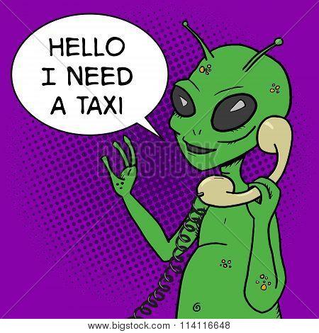 Alien talking phone pop art style vector