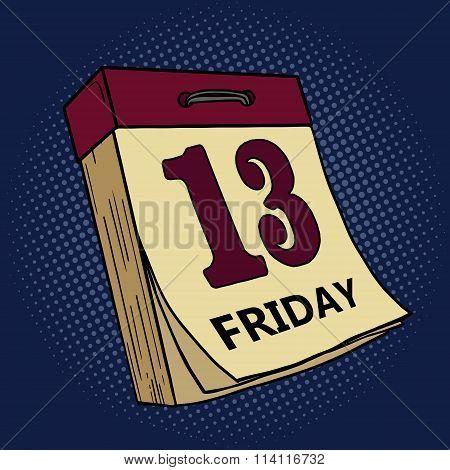 Calendar with friday thirteen pop art vector