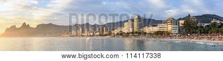 Panoramic image of Ipanema Leblon and Arpoador beaches