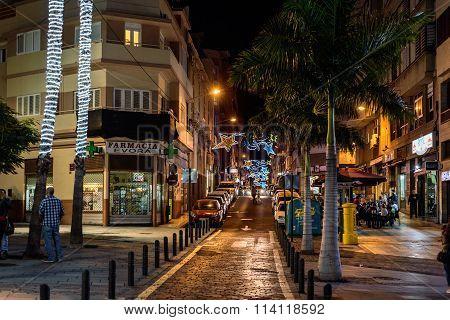 Iluminated chritmas night streets of Santa Cruz de Tenerife