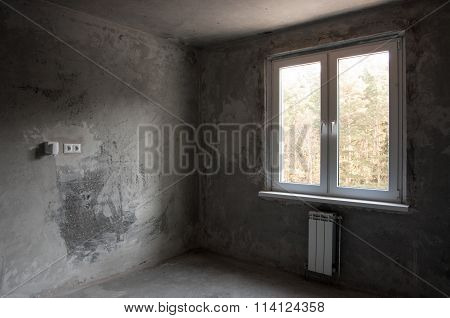 Window In A New Apartment Without Finishing