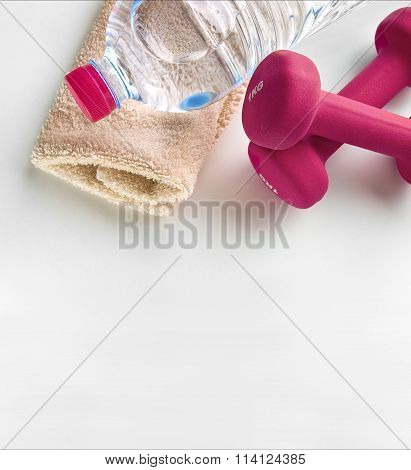 Sport for women dumbbells towel and bottle of water top