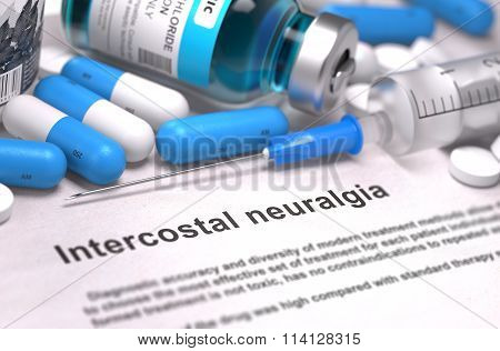Diagnosis - Intercostal Neuralgia. Medical Concept. 3D Render.