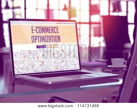 E-commerce Optimization - Concept on Laptop Screen.