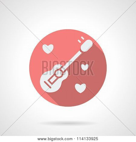 Round pink guitar and hearts flat vector icon