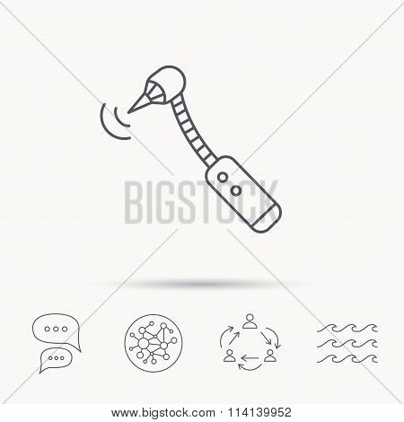Drilling tool icon. Dental oral bur sign. Global connect network, ocean wave and chat dialog icons. Teamwork symbol. poster