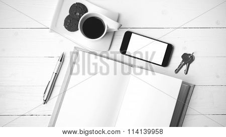 Coffee Cup With Cookie,phone,notebook And Key Black And White Color
