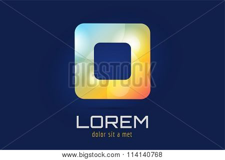 Square icon abstract logo template