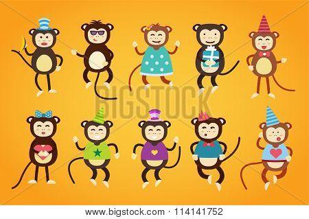 Happy cartoon monkey dancing party birthday background