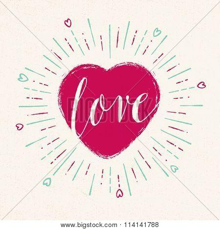 Handwritten, vintage flavored Valentine's Card - Love - EPS10