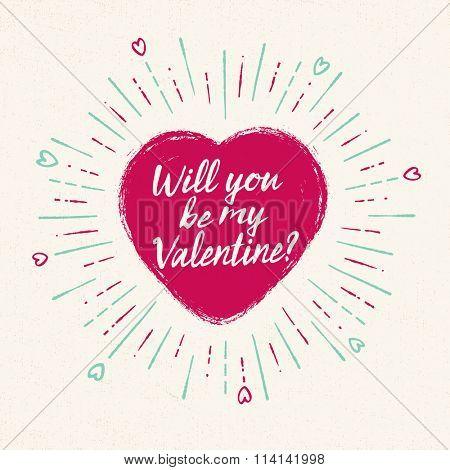 Handwritten, vintage flavored Valentine's Card - Will You Be My Valentine? - EPS10