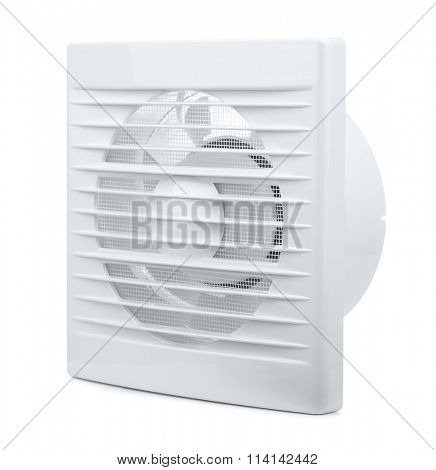 Wall electric extractor fan isolated on white