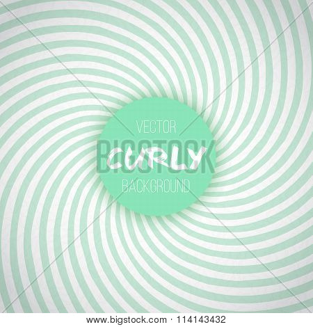 Green Mint Color Spiral Swirl Background. Minty Waves Circus Vec