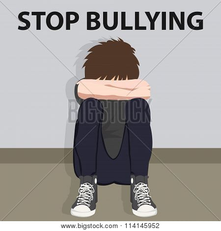 stop bullying kids bully victim young child bullied vector illustration