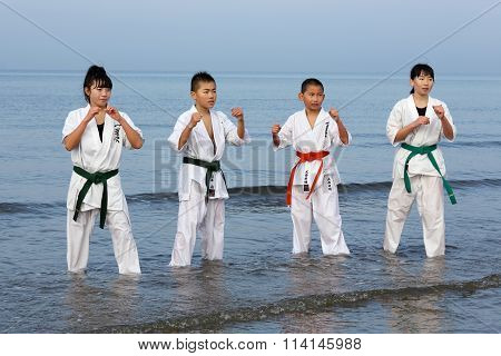 Japanese karate boys and girls