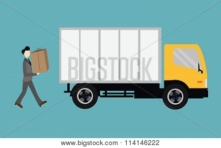 people moving bring box into truck container