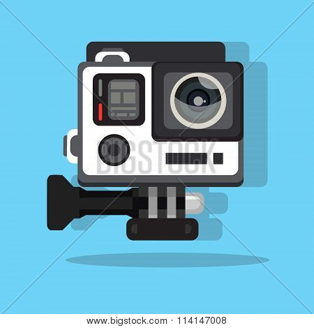 high definition photo video go camera pro action flat vector illustration