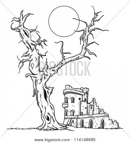 vector - Big old tree and ruin castle
