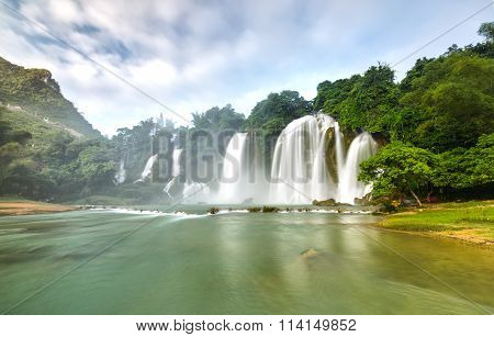 Ban Gioc Waterfall misty morning