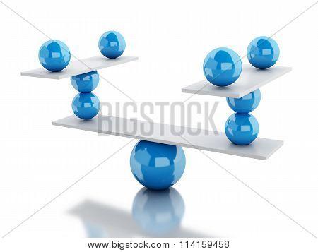 3D White Spheres In Equilibrium.