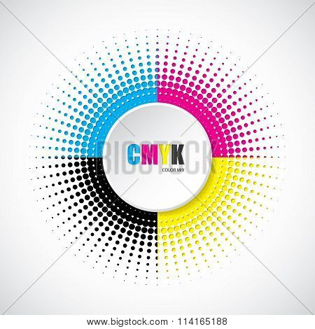 Abstract Cmyk Halftone Background With 3D Button