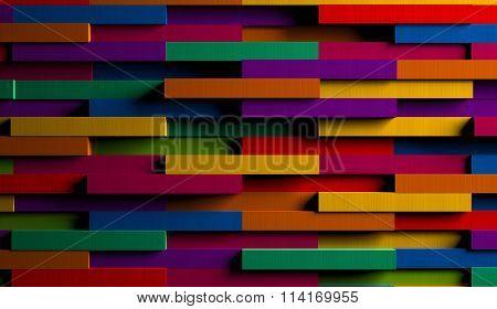 3D Bright Multicolored Striped Background