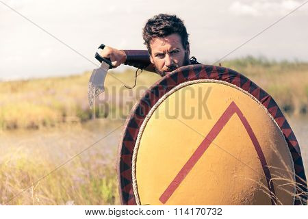 Portrait of fighting ancient warrior in armor with sword and shield
