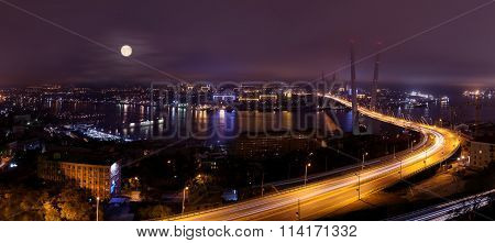 vladivostok bridge panorama at night