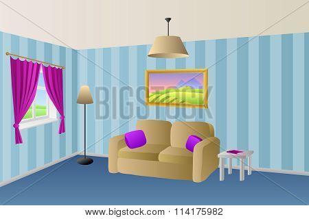 Modern living room blue beige sofa violet pink pillows lamps window illustration vector