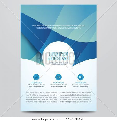 Flyer, brochure, annual report, magazine cover vector template. Modern blue corporate design.