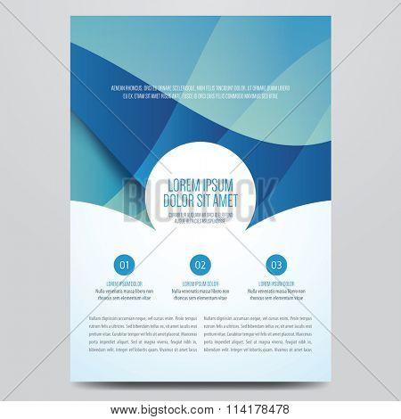 Flyer, brochure, annual report, magazine cover vector template. Modern blue corporate design.