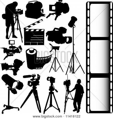 Film, Camera And Equipments Vector