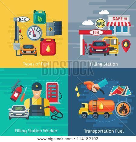 Fuel Station Concept Icons Set