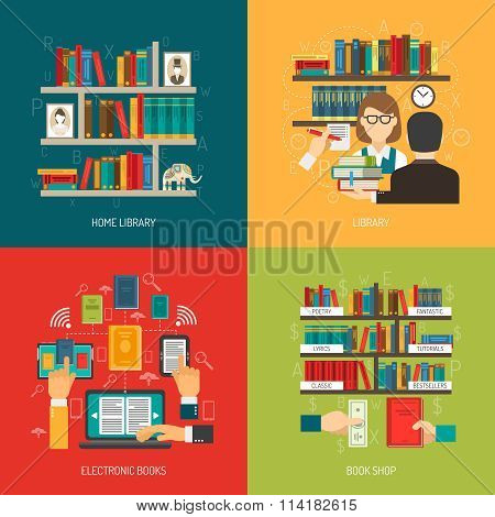 Library Concept 4 Flat Icons Square